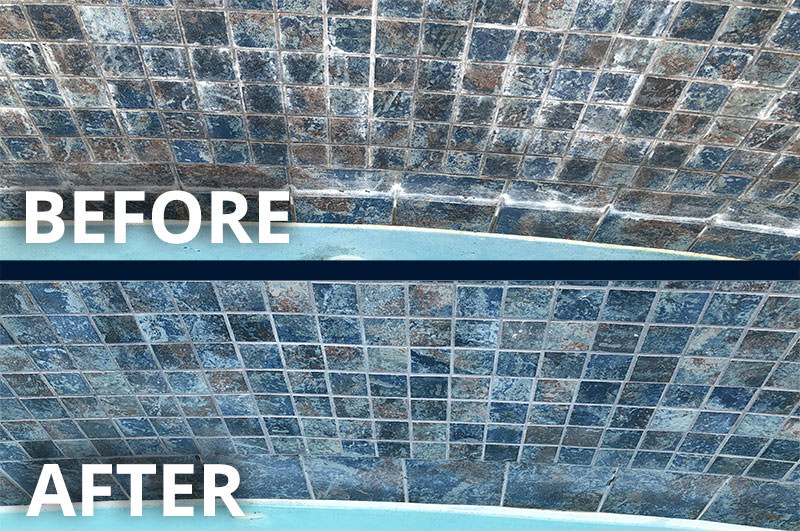 Before & After Dustless Blasting Pool Tile