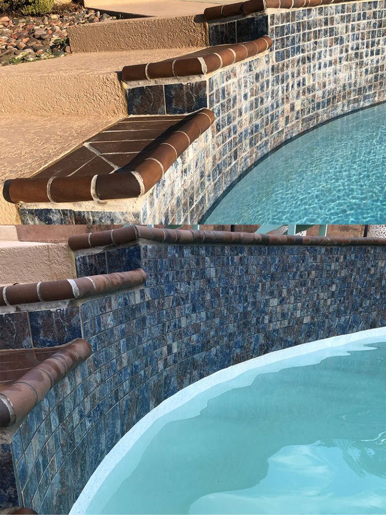 Before & After Pool Tile Cleaning with Dustless Blasting