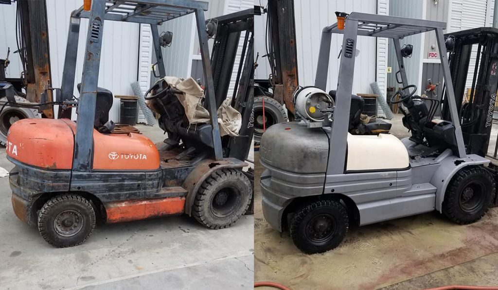 Cleaning Heavy Equipment with Dustless Blasting