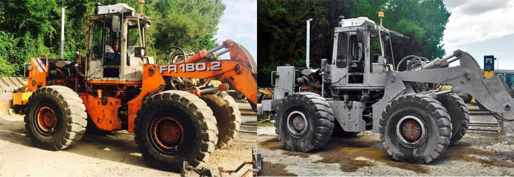 Before and After Dustless Blasting Heavy Equipment Tractor