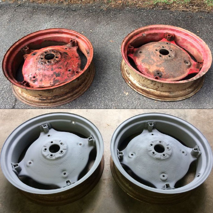 Dustless blasting paint and powder coat off wheels