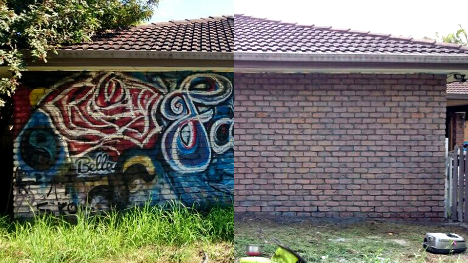 Before and After Graffiti removal with Dustless Blasting