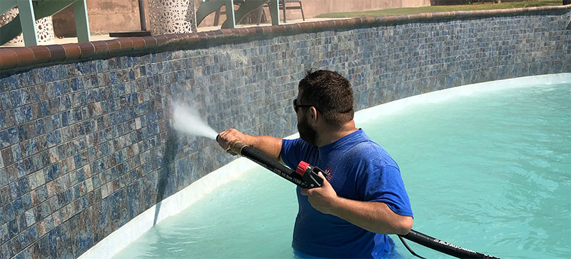 Clean & Remove Calcium from Pool Tile with Dustless Blasting